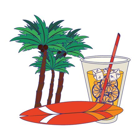 Summer palms and surf table cartoons drinks and cocktails vector illustration graphic design