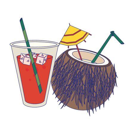 Summer drink juice and coconut cocktail vector illustration graphic design Illusztráció