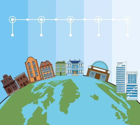 Building and architecture evolution timeline with round icons, world map background vector illustration graphic design