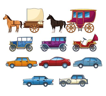 Vintages classec and modern cars with horse carriages set of icons, transport evolution. ,vector illustration graphic design.