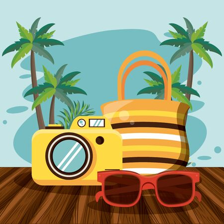 Summer and beach cartoons on wooden floor with palms vector illustration graphic design