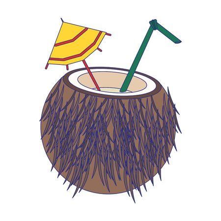 Coconut cocktail with straw and umbrella cartoon vector illustration graphic design Illusztráció