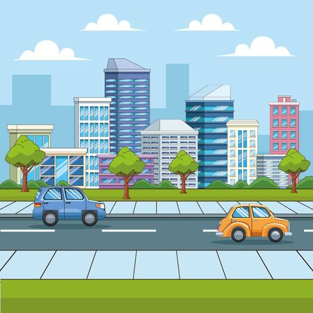 City with buildings and cars on street urban scenery cartoons ,vector illustration graphic design.