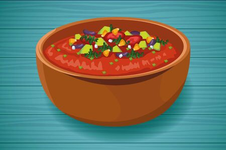 Delicious Mexican Food with Mexican Soup, vector illustration