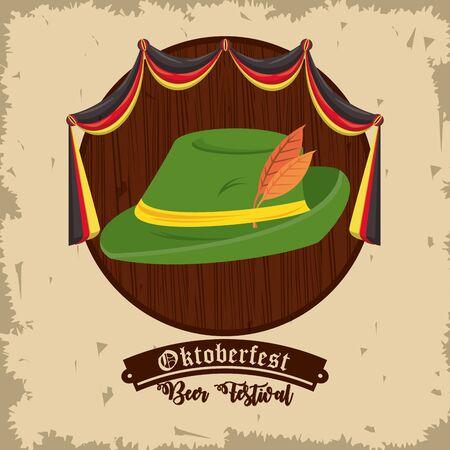 Oktoberfest Celebration design with hunting hat, vector illustration