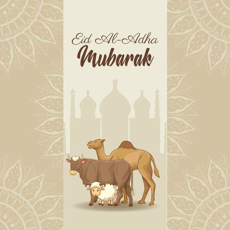 The Feast of Islamic Sacrifice and ram camel bull with islamic ornaments on shaded mosque vector illustration graphic design