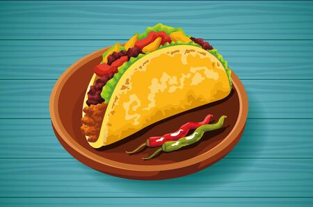 Delicious Mexican Food taco and chili pepper, vector illustration