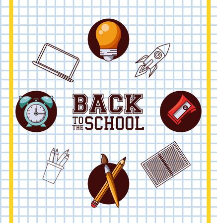 Back to school season card and poster, school utensils and supplies cartoons. vector illustration graphic design Ilustracja