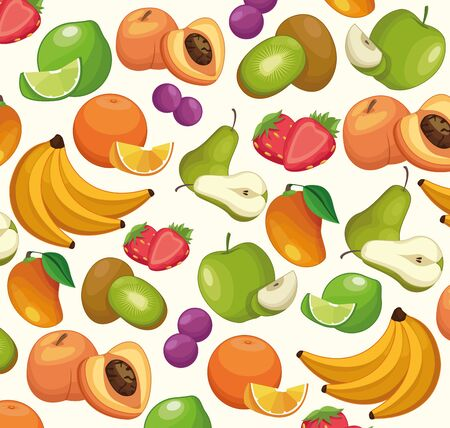 Fruits pattern background bananas lemon peach kiwi pear strawberry grapes mango cartoons vector illustration graphic design