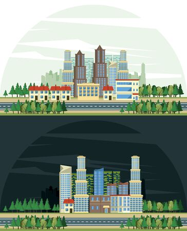 Urban buildings cityscape view night and day set of scenarios collection isolated vector illustration graphic design