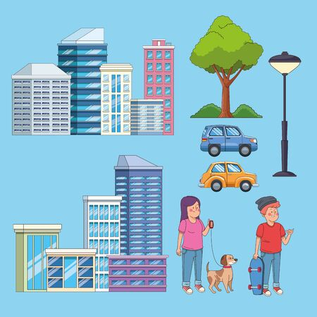 City buildings cars and people with pets set of cartoons collection ,vector illustration graphic design. Illusztráció