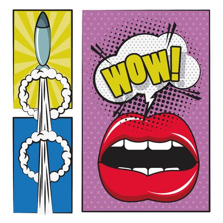 Comic book story with speech bubble, mouth screaming and rocket weapon ,vector illustration.