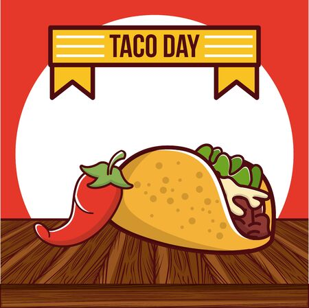 Taco day mexican food poster card, mexico gastronomy and menu template. vector illustration graphic design.