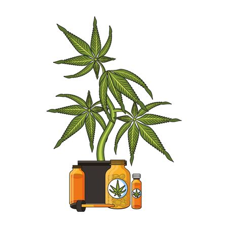 cannabis martihuana medical marijuana medicine sativa hemp oil bottles cartoon vector illustration graphic design