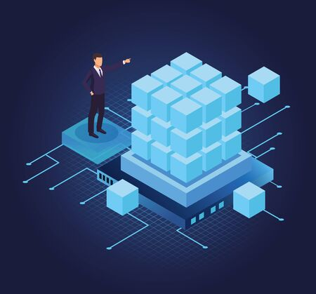 Isometric businessman with 3d cubes database banner vector illustration graphic design Иллюстрация