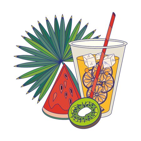Summer watermelon and drink with kiwi vector illustration graphic design Illusztráció