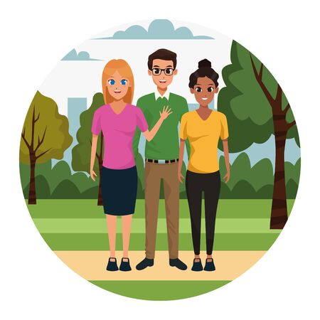 cartoon friends in the park over white background, colorful design. vector illustration