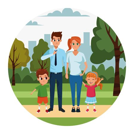 Cartoon glückliche junge Eltern und Kinder im Park, farbenfrohes Design. Vektor-Illustration