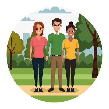 cartoon adult friends in the park, colorful design. vector illustration