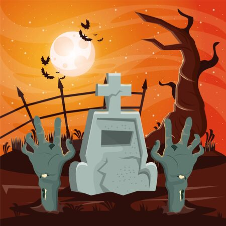 halloween dark scene with zombie hand in cemetery vector illustration design Illusztráció
