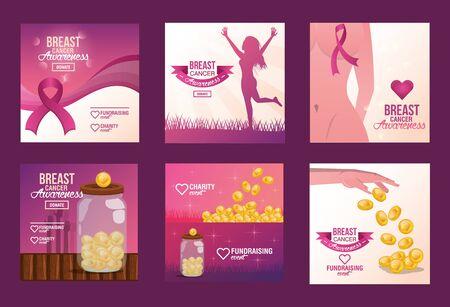 Breast Cancer Awareness Fundraise invitation design, vector illustration