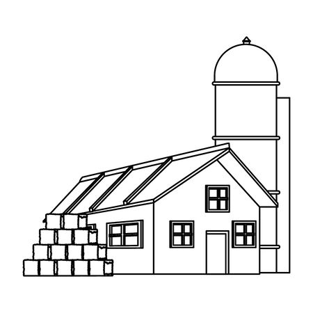 farm house with bales of hay and granary icon over white background, black and white design. vector illustration