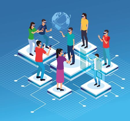 Friends playing with virtual reality glasses and world hologram on blue technology background vector illustration graphic design