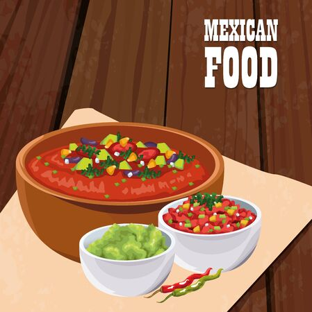 mexican food poster with vegetables salad vector illustration design