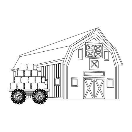 wooden farm barn and bales of hay load icon over white background, black and white design. vector illustration