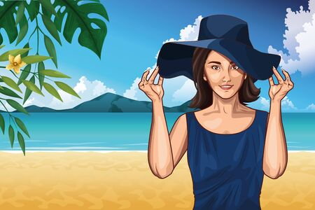 Pop art woman with fashion hat in the beach scenery on sunny day ,vector illustration.