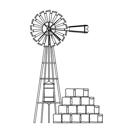 wind water pump and bales of hay icon over white background, black and white design. vector illustration Illusztráció