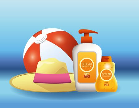 Solar protection bottles products for summer with ball and hat on blue background vector illustration graphic design Illustration