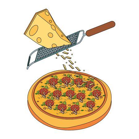 formaggio grattugiato che cade sulla pizza italiana su sfondo bianco, illustrazione vettoriale