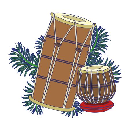 Indian table drums with leaves cartoon vector illustration graphic design  イラスト・ベクター素材