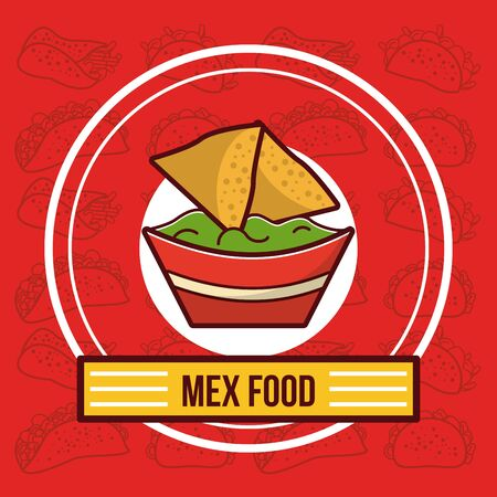 Delicious mexican nachos with cheese and guacamole food cartoons vector illustration graphic design.
