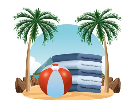 Beach ball and towels piled up in the beach scenery background ,vector illustration graphic design. 일러스트
