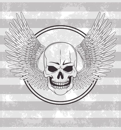 Tattoo old school skull wings drawing gray and white striped background vector illustration graphic design