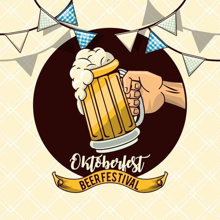 Oktoberfest Celebration design with beer, vector illustration