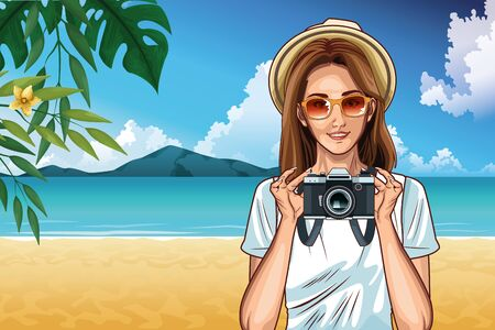 Pop art woman with hat sunglasses and camera in the beach scenery on sunny day ,vector illustration. Banque d'images - 132559291