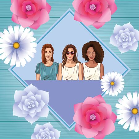 Pop art beautiful women smiling with casual clothes and glasses on floral spring frame card ,vector illustration graphic design.