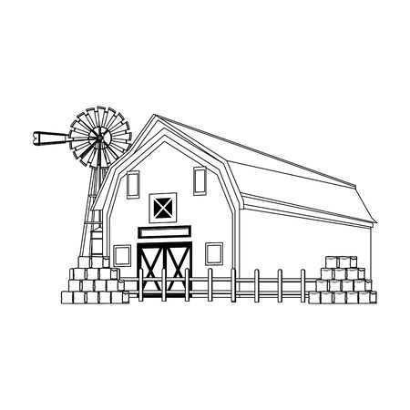 wind water pump with wooden farm barn and bales of hay icon over white background, black and white design. vector illustration