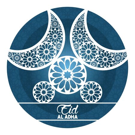 eid al adha feast of the sacrifice waning moon and circles with islamic art in round icon cartoon vector illustration graphic design