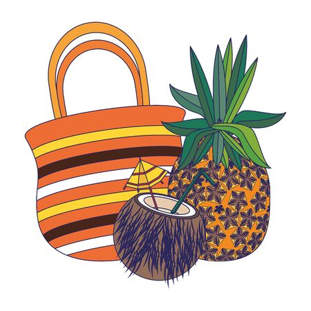 summer beach and vacation with pineapple, coconut beverage, beach bag icon cartoons vector illustration graphic design