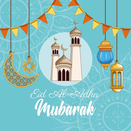 The Feast of Islamic Sacrifice and mosque with islamic ornaments on islamic ornaments vector illustration graphic design