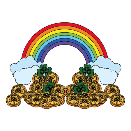 saint patricks day irish tradition golden coins with clovers and rainbow cartoon vector illustration graphic design Illusztráció