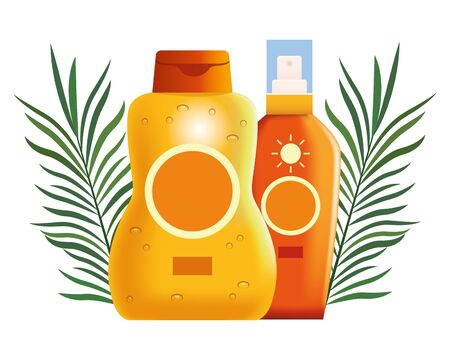 Sun bronzer bottles with palm leaves cosmetic products ,vector illustration graphic design. Standard-Bild - 132559238