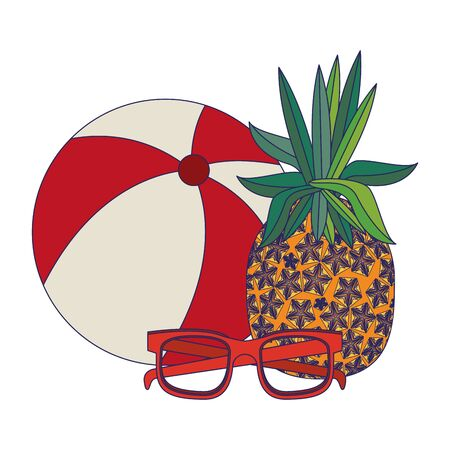 summer beach and vacation with pineapple, beach balloon, sunglasses icon cartoons vector illustration graphic design