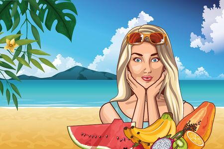 Pop art woman with sunglasses and tropical fruits in the beach scenery on sunny day ,vector illustration.