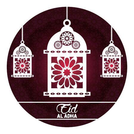 eid al adha feast of the sacrifice with hanging muslim lamp in round icon cartoon vector illustration graphic design Ilustracja
