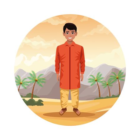 indian indian man wearing hindu clothes on desertscape round icon scenery cartoon vector illustration graphic design 向量圖像